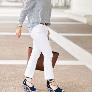 Cabi white kick it crop jeans pants 8